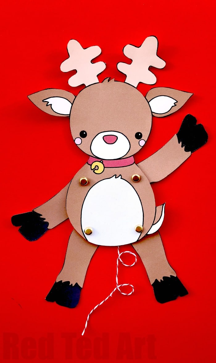 Paper Reindeer Puppet Template - we love a good Rudolph Craft.. how adorable is this Rudolph animated puppet? Print, cut and assemble (or colour your own!). Love these Christmas Printables #Christmas #christmasprintables #printables #templates #paperpuppets #rudolph #rudolphcrafts #Papercrafts #papercraftsforkids