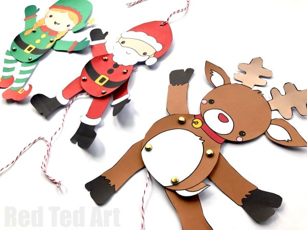 photograph regarding Pin the Nose on the Reindeer Printable named Paper Reindeer Puppet Template - Pink Ted Artwork