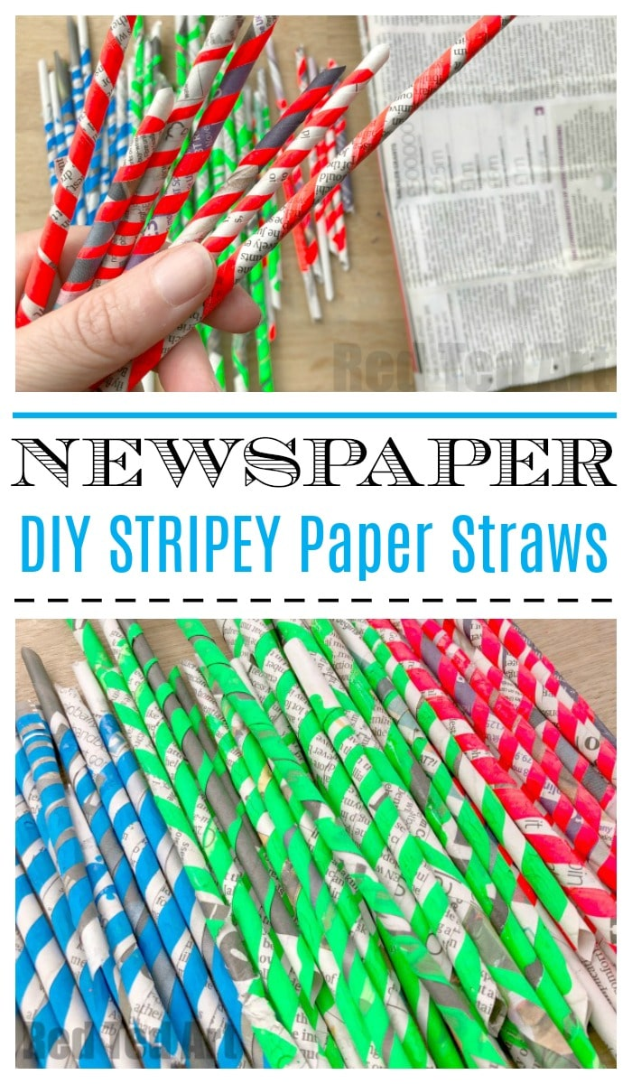 How to Make Paper Straws - make your own straws for crafting this season. Great for the environment, inexpensive and lots of fun! Love upcycled Newspaper DIYs. #newspapers #newspapercrafts #upcycling #recycling #paperstraws #howto #howtomake  #kidscrafts101