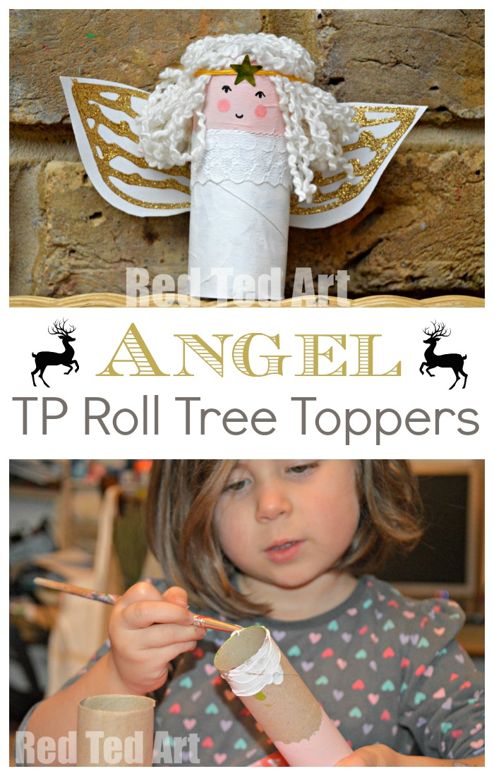 Toilet Roll Angels - how cute are these DIY Tree Toppers for Kids to make? Love Christmas Crafts for Kids and these TP Roll Angels are no exception. Aren't they simply darling? They make great Tree Toppers too and are made from mainly recycled materials. Win win. My kids love them! #Angel #angelcrafts #treetoppers #diytreetopper #tprolls #toiletpaperrolls #angelcraftsforkids