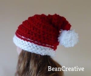 Finger knitted santa hat
