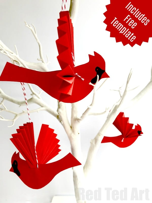 easy paper fan cardinal ornament for christmas how to make a paper fan bird - Red Cardinal Christmas Decorations