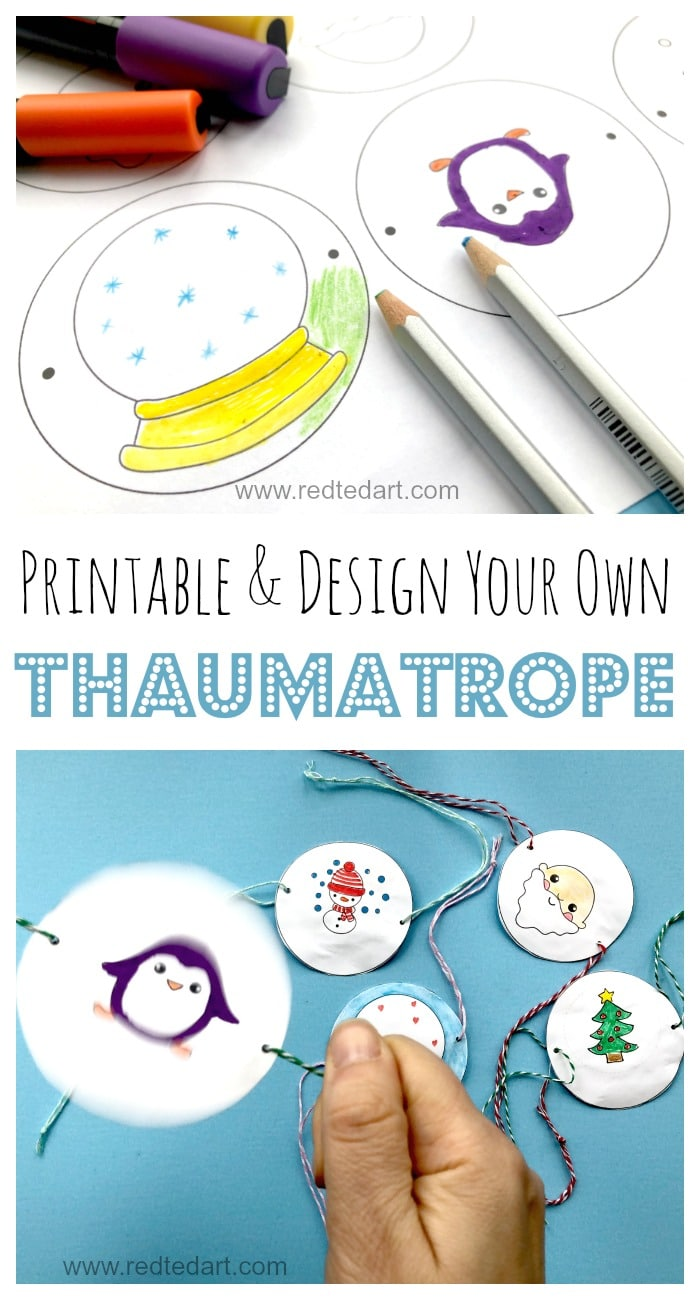 Printable Thaumatrope for Christmas & Winter. Here is a little STEAM Winter Activity for you (well Winter AND Christmas..) learn how all about Victorian Thaumatropes. A great optical illusion toy for kids. Use the Thaumatrope printables to cut & colour, or design your own Snowglobe. What will you put on yours? Great Winter STEAM activity for kids (with a cheeky Santa added for fun)... #Thaumatrope #STEAM #STEAMactivities #Winter #wintercrafts #papercrafts #printables