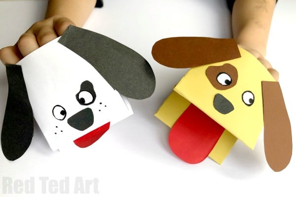 Paper Dog Hand Puppet Red Ted Art