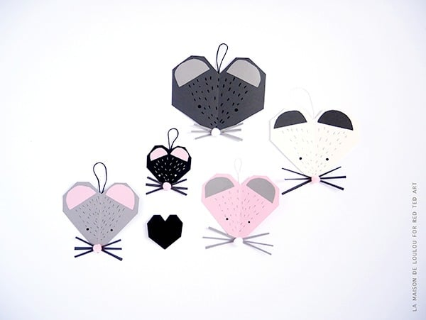 Mouse Heart Valentine's Card - oh what can you make from a heart?! How about these super cute Mice Heart Valentines Cards for Kids to make? Too cute #valentines #valentinescards #mouse #mice #papercrafts #kidscrafts