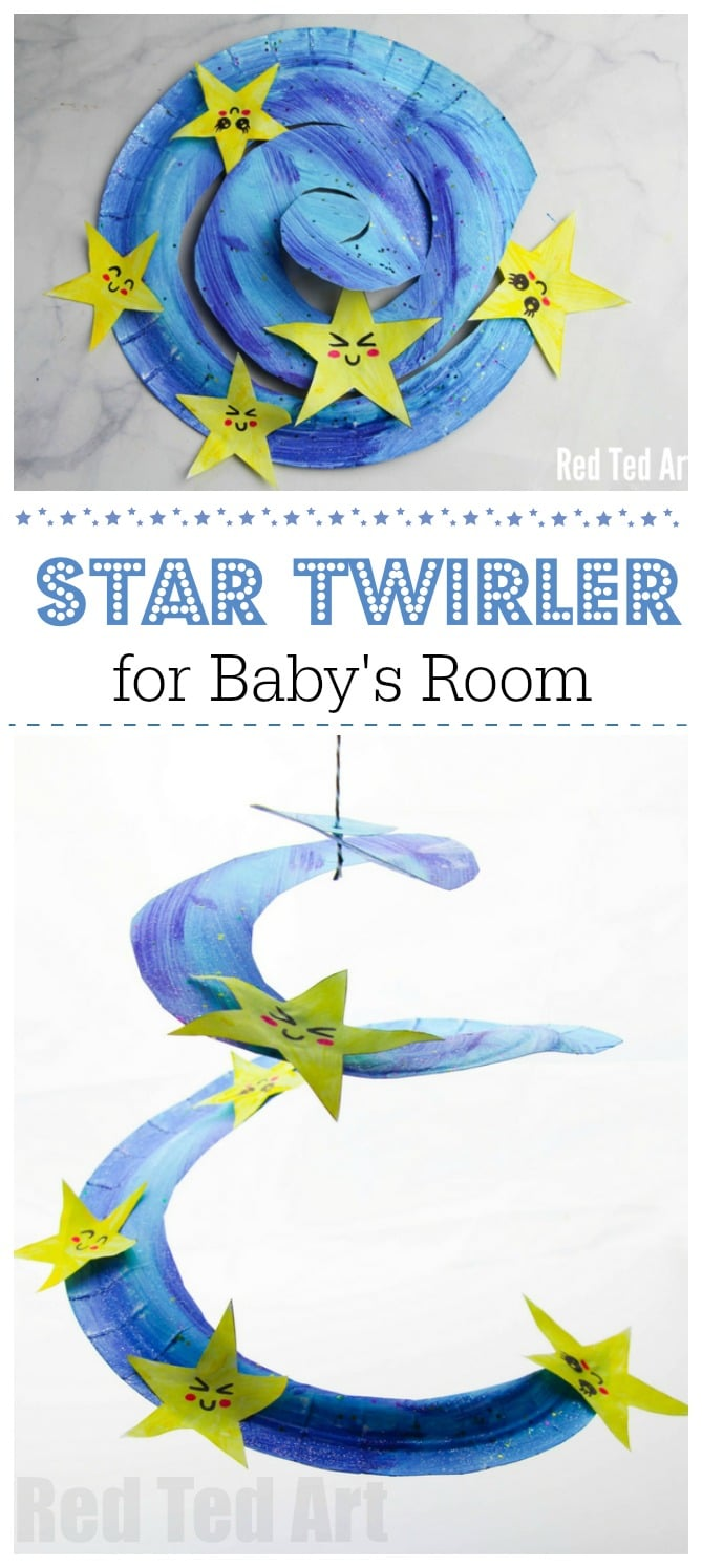 Paper Plate Star Twirler - a super duper cute decoration for baby's room. Single Twinkle Twinkle little star and watch these memsmerizing twirler... so cute! A great way to get crafty with a toddler and welcome a new baby! A lovely New Year's Eve decoration for young kids too! #baby #roomdecor #twinkletwinkle #toddlers