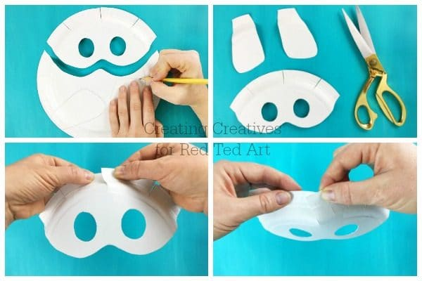 Easy 3d Dog Mask Diy - these super cute DIY Dog Masks are quick and easy to make. Learn how to turn a Paper Plate into these fab Paper Plate Masks - 3d to boot!! Love Dog Crafts for kids. #dogs #dog #dogdiys #dogcrafts #yearofthedog #paperplates