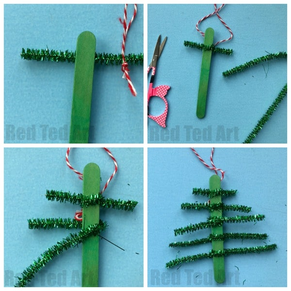 diy pipecleaner christmas tree ornament step by step instructions - Pipe Cleaner Christmas Tree