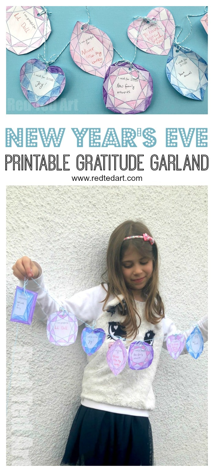 2019 Printable New Year's Eve Garland - gorgeous Jewel Banner for New Year's eve. Colour, Cut add a grateful and wish message and decorate your home for New Year's Eve. So pretty. #Newyearseve #newyearsever2019 #newyearseverprintables #printables #decor #newyearsevedecor