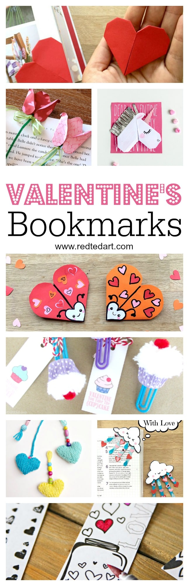 Kids Valentines Bookmark Designs. These Valentine's Day Bookmarks are super cute and easy to make. A great Valentines Gift for Kids to make #valentines #bookmarks #valentinesday #bookmarkdesigns #kids