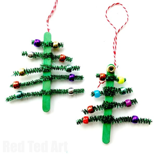 pipecleaner christmas tree ornaments super cute and simple craft stick and pipecleaner tree ornaments - Pipe Cleaner Christmas Tree