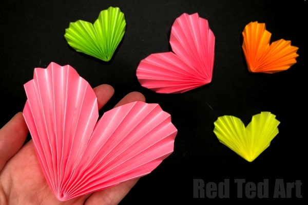 3d Paper Heart Accordions Red Ted Art