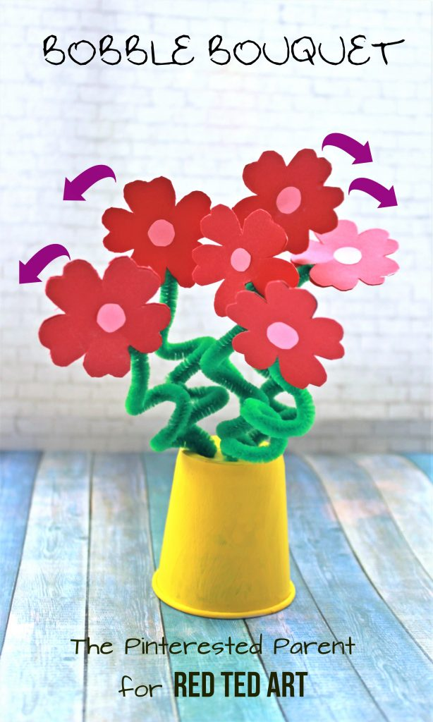 "Easy Flower Bouquet Craft - a perfectly LOVELY Valentine's Day Bouquet or Mother's Day Craft. Love that they ""bob"" and ""bounce"" when you give them a little wiggle. So cute. Love Flower crafts for kids #flowers #flowercraft #bouquet #kidscrafts #mothersday #valentines #valentinesday"