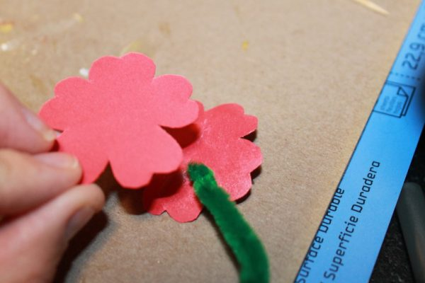 cut a small circle for the center of your flower and then glue it into place