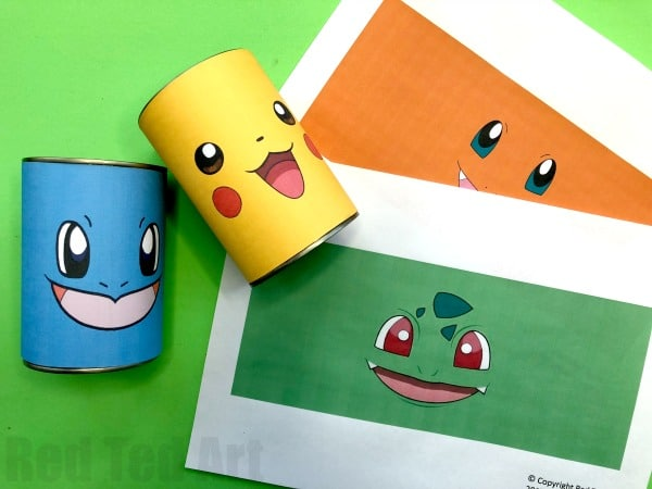 DIY Pokemon Pencil Holder - Love Pokemon Crafts? Check out these fabulous Pokemon Desk Tidies made from Tin Cans. Learn how to make them from scratch (and draw your own) or use our handy free pokemon printables! Love getting ready for Back to School and sorting all these fabulous School Supplies! #pokemon #pikachu #schoolsupplies #desktidy #pencilholder