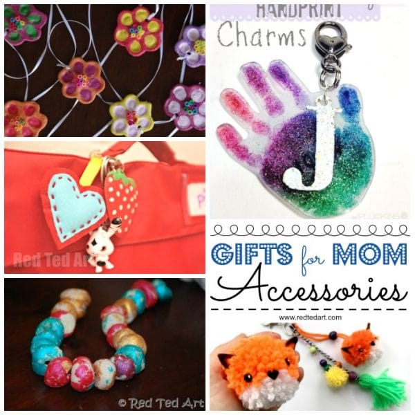 Collage of gift ideas for moms - key rings and necklaces