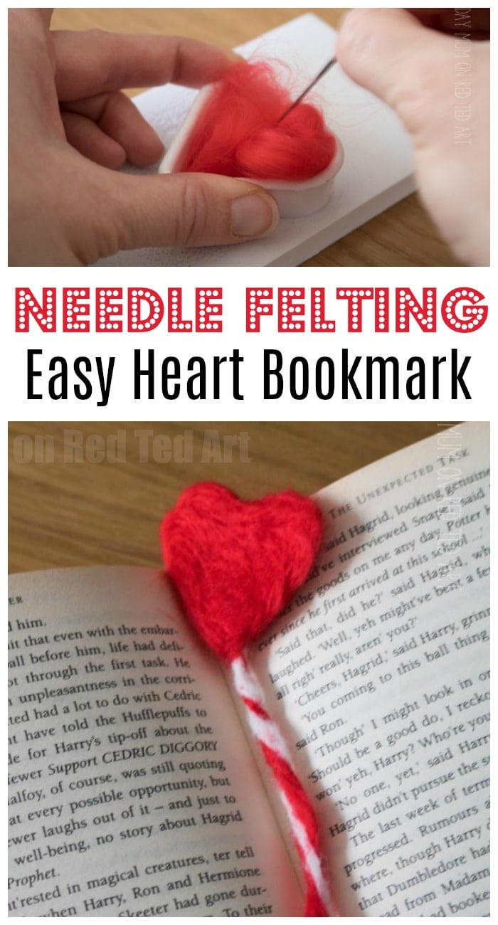 How to needle felt a heart. Learn the art of needle felting with thise great Beginners Project. Love this easy Needle felting heart bookmark for Valentines or Mother's Day #Needlefelting #hearts #valentines #mothersday