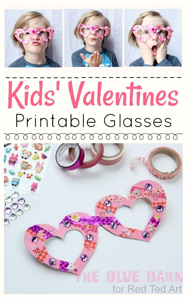 photo about Printable Valentines Craft titled Children Valentines Gles Craft - Crimson Ted Artwork