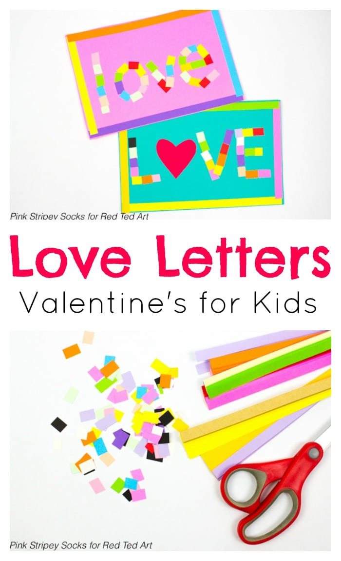 DIY Mosaic Love Letter Cards - adorable and easy LOVE Cards for Valentine's Day. These are great for kids of all ages, with fine motor skills development for preschool. Adore!! #valentines #valentinescards #loveletters #mosaic #preschool