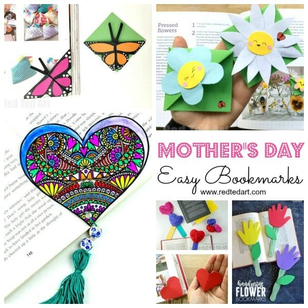 Mother's Day Crafts - make these easy bookmarks for Mother's Day. Lovely Mother's Day gift ideas for kids to make #mothersday #bookmarks #mothersdaygift #giftideas