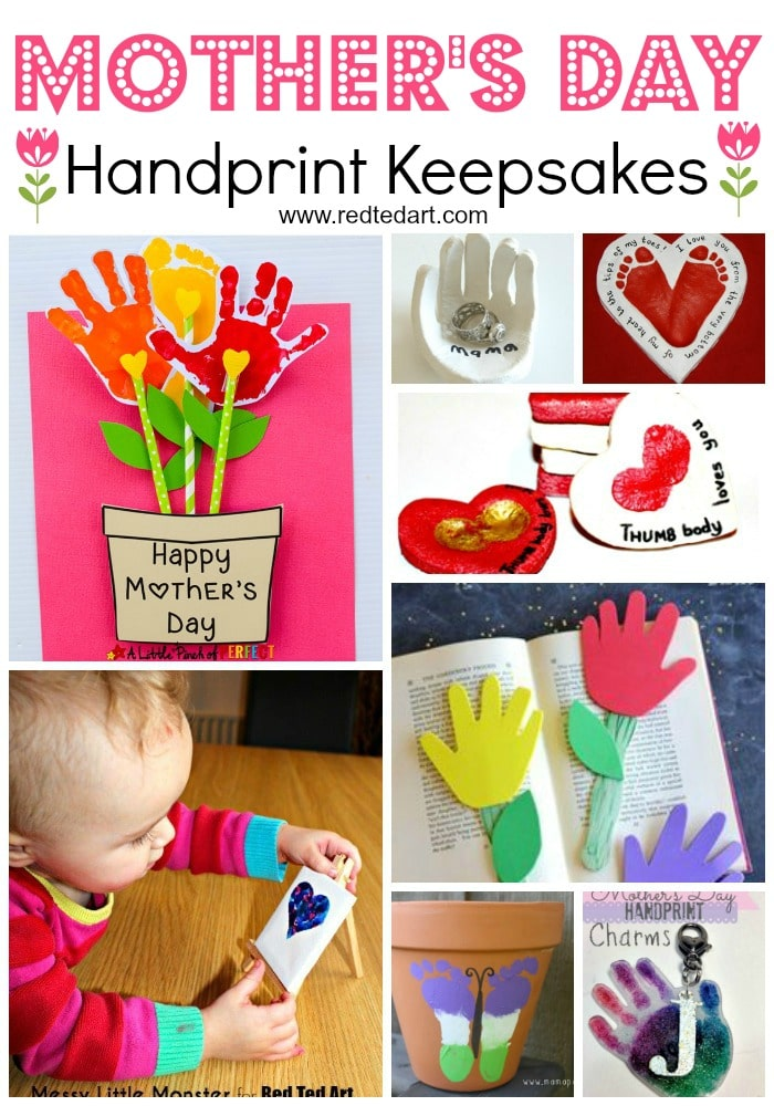 Handprint Mother's Day Keepsakes. Oh what super cute Mother's Day Crafts for kids to make #mothersday #preschool #handprints #keepsakes