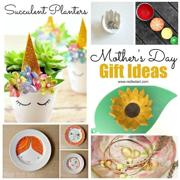 Collage of mother's day gifts - bowls and ceramics