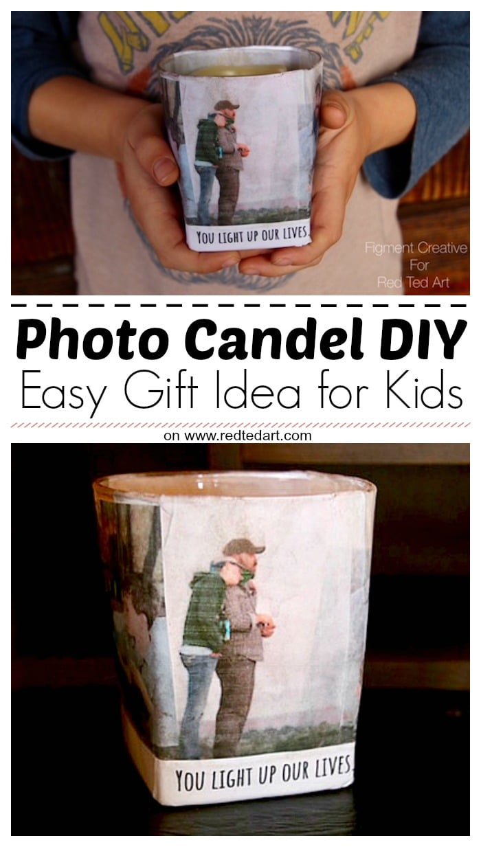 Personalised Photo Candle Holders - Learn how to make these photo candle holdes with kids. This makes a great Father's Day gift or Valentine's Day gift the kids can make #fathersday #valentines #valentinesgift #diy #personalised #kidscrafts #photocandleholder
