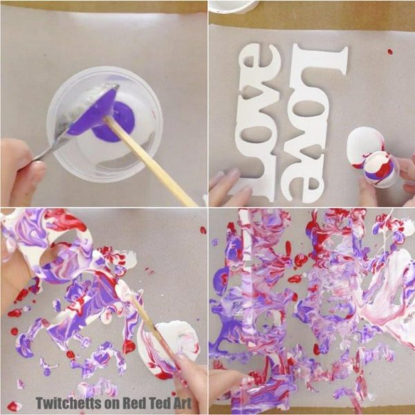 How to Paint Pour! A great Paint Pouring Project for Valentines. Make these great Valentines Day Decorations with the kids #paintpouring #arttechniques #artforkids #valentines #valentinesday