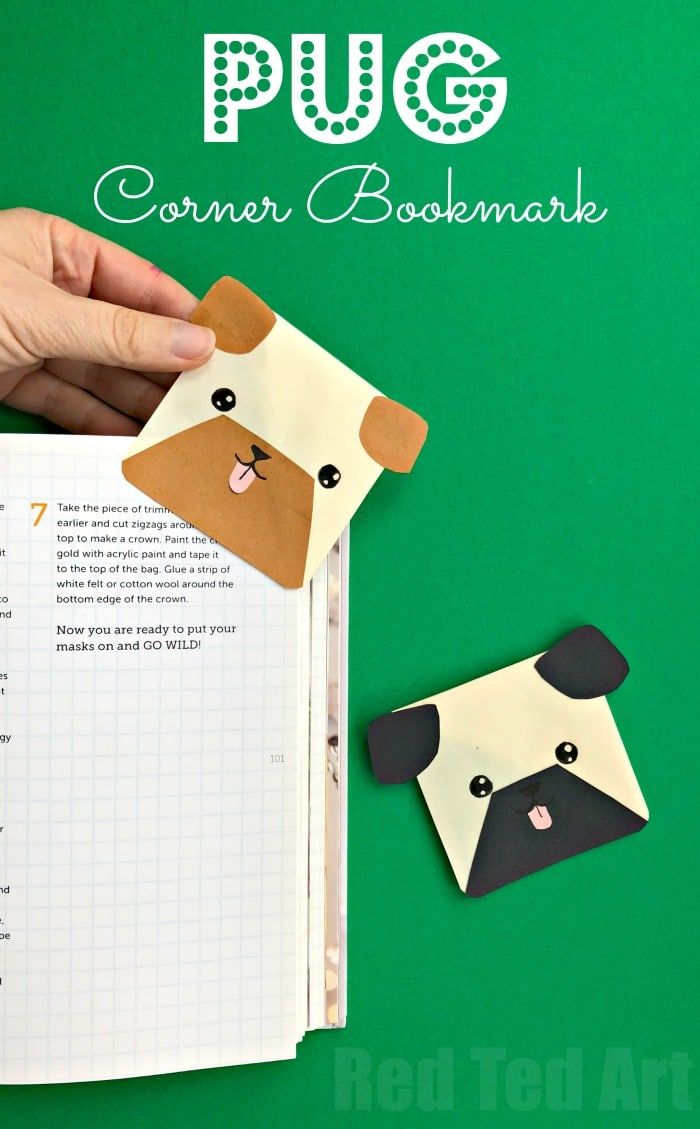 Easy Pug Corner Bookmarks. If you love DOGS and love PUGS, you will adore this paper dog craft ! Make a Pug Bookmark Corner. Also doubles as a Boxer Dog?! #Dogs #dogcrafts #dogdiy #dogbookmark #bookmark