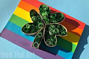 Easy Paper Quilled Shamrock cards for St Patrick's Day Crafts
