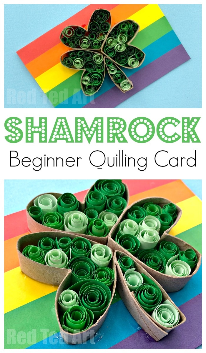 Paper Quilling Shamrock Cards. Gorgeous Saint Patrick's Day Cards to make wih kids. Great beginner's quilling project and gorgeous paper shamrock. Toilet Paper Roll craft too! #shamrock #preschool #saintpatricksday #paperquilling #quilling