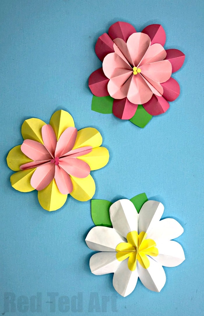 Easy 3d paper flowers for spring red ted arts blog how to make flowers with paper learn how to make these easy 3d paper flower mightylinksfo