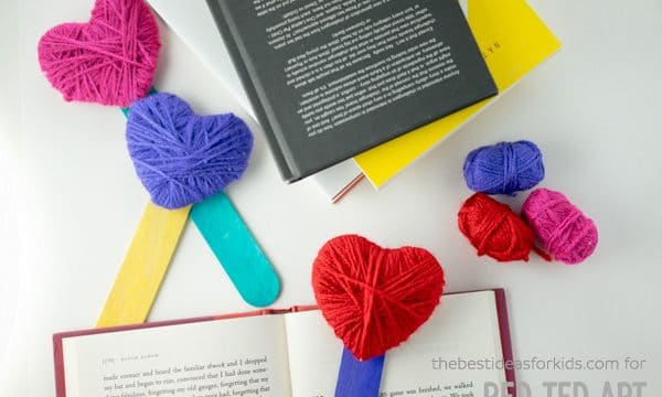 Yarn Wrapped Heart Bookmarks