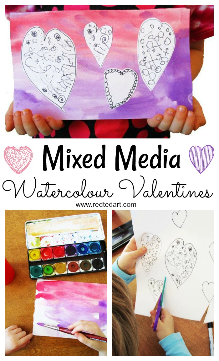 Mixed Media Watercolour Valentine's Cards for Kids. Explore Watercolours and the process of Mixed Media, with these gorgeous Valentines Art Projects! #valentines #mixedmedia #cardmaking #valentinescards