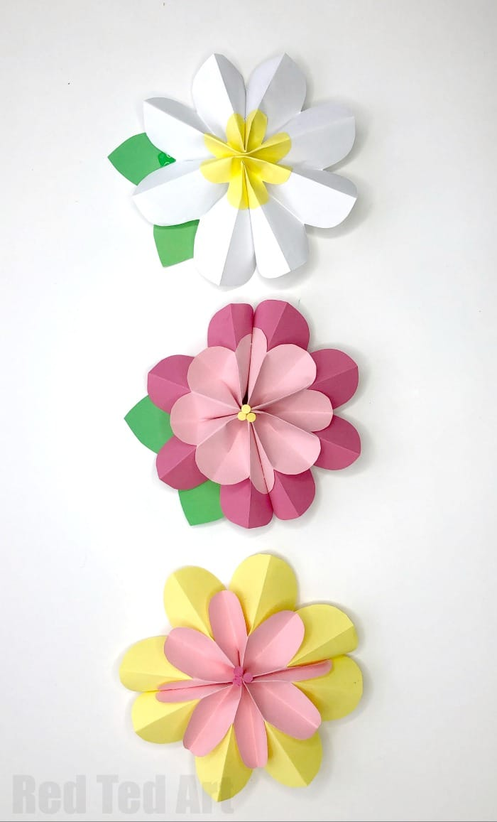 Easy 3d Paper Flowers For Spring Red Ted Arts Blog