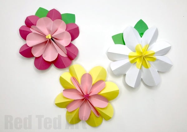 Easy 3d Paper Flowers For Spring Red Ted Art S Blog