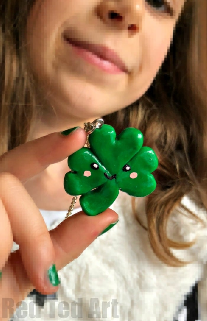 Shamrock Charm Craft - make your very own lucky charms for St Patrick's Day. These make great BFF Gifts too. Easy Shamrock Charm Pendany DIY! #Shamrocks #kids #stpatricksday #bff #bffgifts