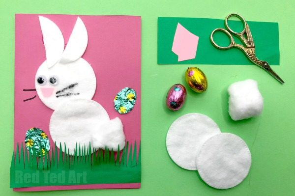 easy cotton wool bunny cards
