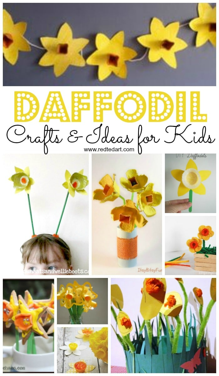 Daffodil Crafts for Preschoolers and Kids. We love Daffodil Crafts - they are perfect as Spring Crafts, St David's Day Crafts, as well as for Mother's Day. Such a cheery and bright daffodil craft!! #Daffodils #Daffodilcrafts #stdavidsday #spring #springflowers
