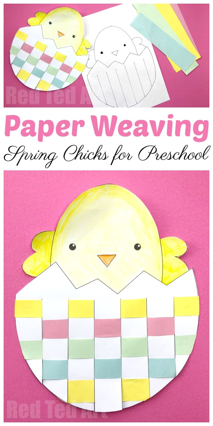 Easy Paper Weaving Chicks for Preschool. Adorable Easter Preschool Craft to print and make. Free printables for Easter.