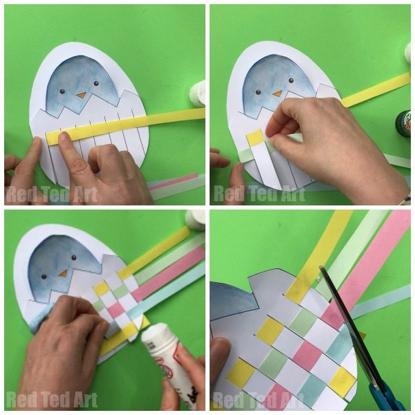 Easter egg paper weaving process - how to make a card