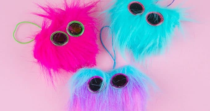 Fuzzy Heart Monster Backpack Charm Valentine's Gift