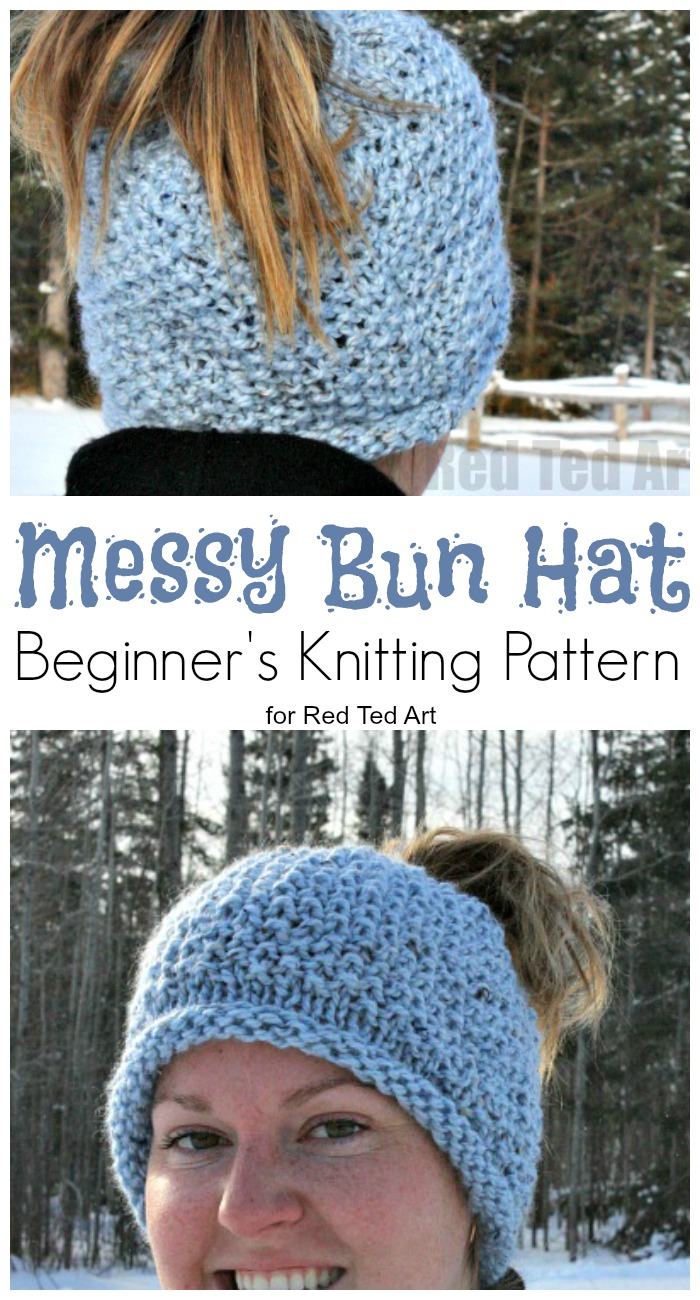 FREE PATTERN Seed Stitch Messy Bun Hat. A great Beginner s Knitting Pattern.  Learn how e2de5a01bc1