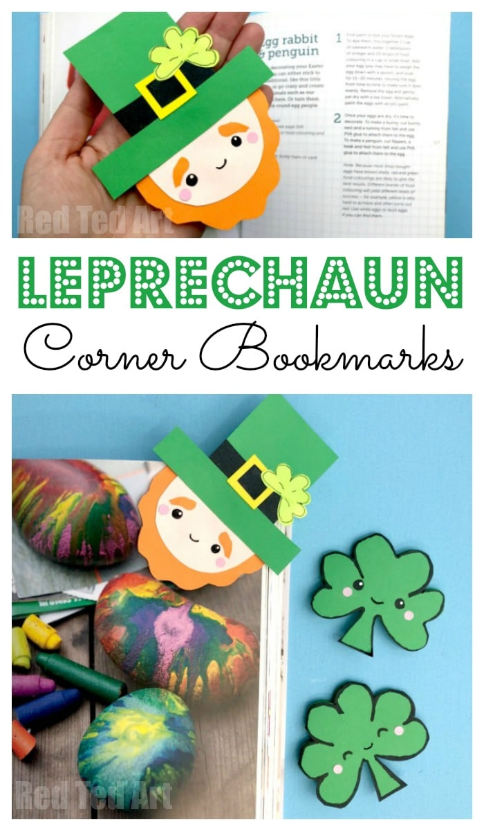 Leprechaun Corner Bookmark for St Paddy's Day - super cute Corner Bookmark Design for St Patrick's Day. We love a great Paper St Patrick's Day Craft and send some Leprechaun love to your friends... adorable #cornerbookmarks #bookmarks #leprechaun #stpatricksday