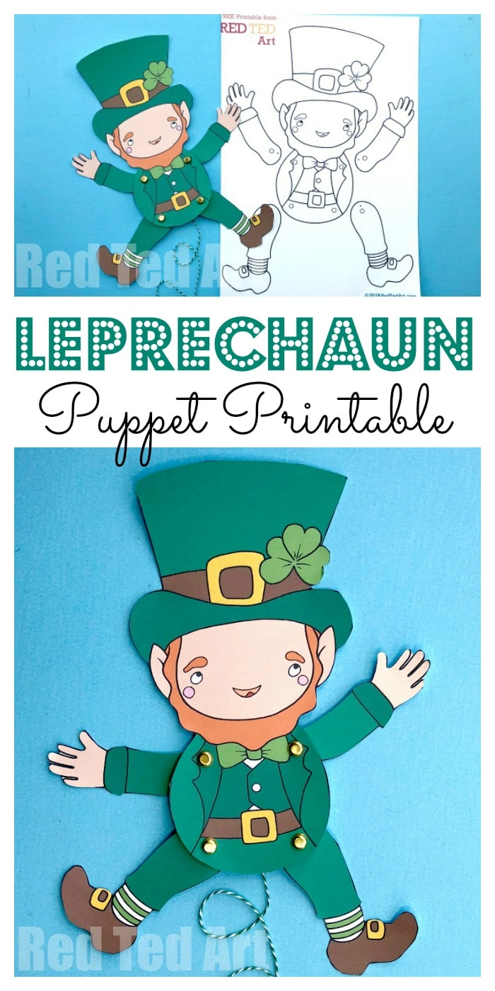 Leprechaun Paper Puppet for St Patrick's Day. Adorable Paper Leprechaun Printable. Love these fabulously easy articulated paper puppet how to #leprechaun #paperpuppet #puppet #catchaleprechaun #stpatricksday #printables