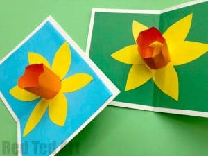 3d flower card diy pop up cards for kids red ted arts blog pop up daffodil cards mightylinksfo