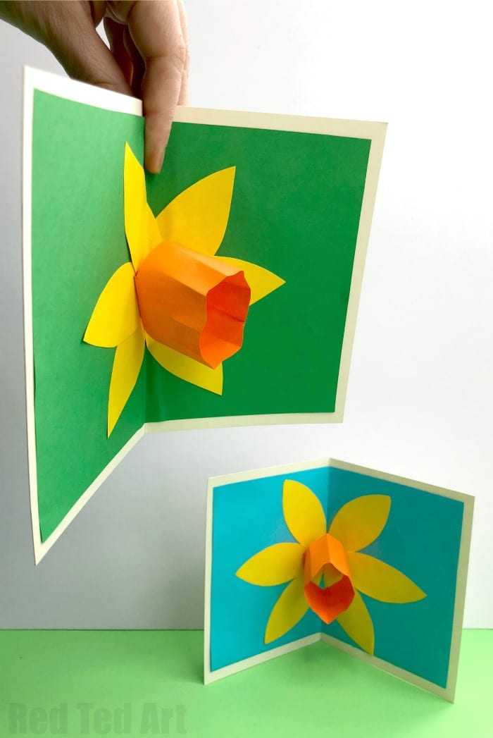 3d pop up daffodil card red ted arts blog 3d pop up daffodil card perfect as a st davids day card or mothers day mightylinksfo