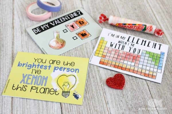 Chemistry Valentines Puns Printables. Have fun with these fantastic Science Valentines Printables. Perfect as Valentines cards for boys and girls who love Chemistry or part of a Science Valentines Gift for Preschool and KS2 #science #chemistry #valentines #puns #printables