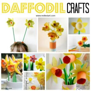 3d Pop Up Daffodil Card - perfect as a St David's Day Card or Mother's Day Card (or even Teacher appreciation Cards). How to make a pop up flower card easily for kids. Love this easy pop up daffodil #daffodil #paperdaffodil #daffodilcard #stdavidsday #mothersday #teacherscards