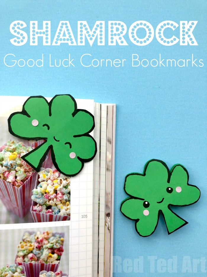 Easy Shamrock Corner Bookmark Design for St Patrick's Day. We ove a fun Corner Bookmark Design. Today's lucky Shamrock Bookmarks are quick and easy to make. A great little gift for some on St Patrick;s Day!! Add the cute Kawaii Shamrock faces or leave plain! #Shamrock #Shamrockcraft #stpatricksday #cornerbookmark #bookmark